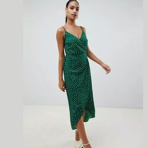 ASOS Size 0 Green Polka Dot Cami Wrap Maxi Dress